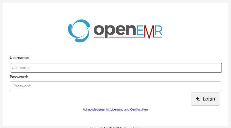 OpenEMR login page was displayed at HMS.htb