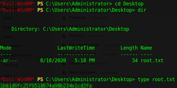 After finalizing the deployment I logged into Evil-WinRM with my new credentials.