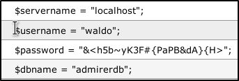 Waldo credentials from database dump.