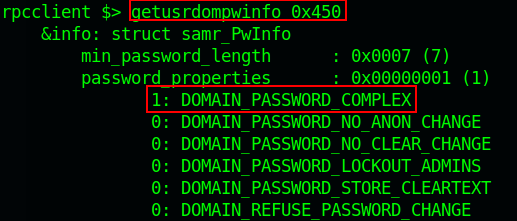 RPCClient shows password complex policy.
