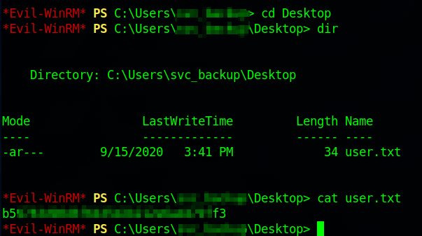 Capping the user flag using Evil-WinRM.