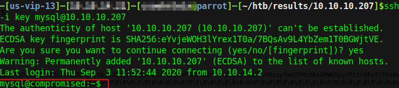 Logged into the box as mysql@compromised