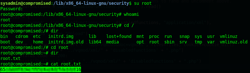 HTB Compromised rooted