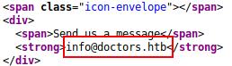 Static HTML website showing info@doctors.htb
