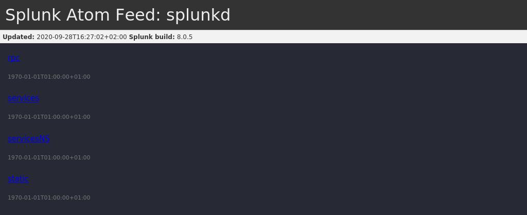 Splunk Atom Feed running on 8089
