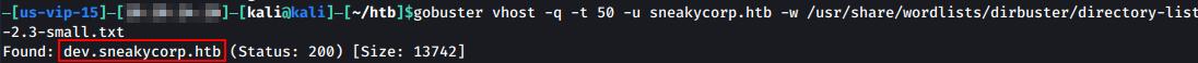 GoBuster shows dev subdomain.