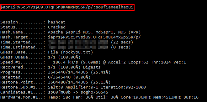Cracking the hash with hashcat.