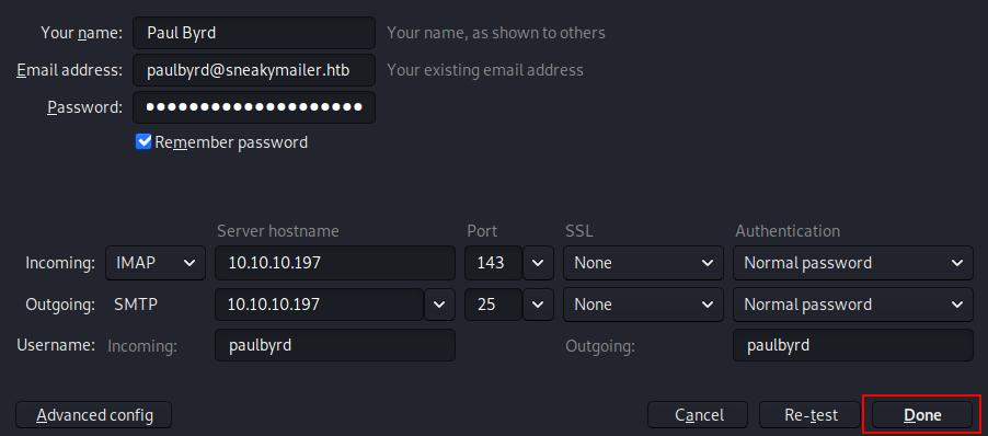Paul Byrd email settings for Thunderbird.