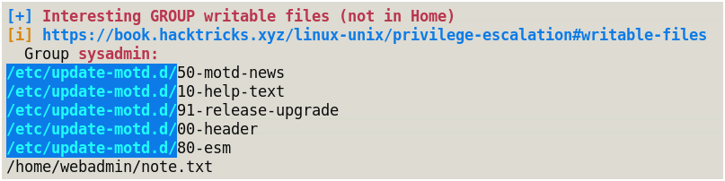 Snapshot of LinPEAS showing MOTD is being run by group sysadmin