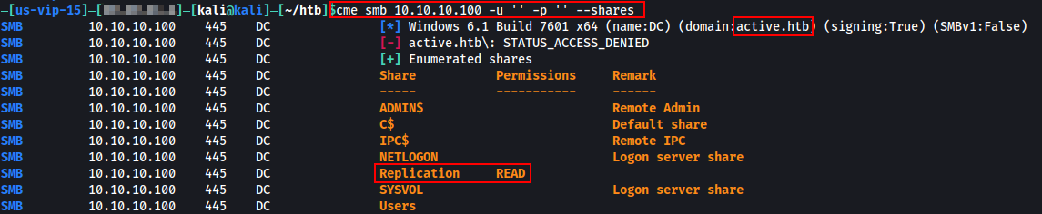 Running CME shows I can read Replication with null authentication.
