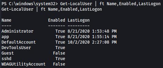 PowerShell list of users/last login.