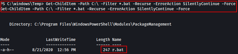 Recursive search shows r.bat file which catches my interest.