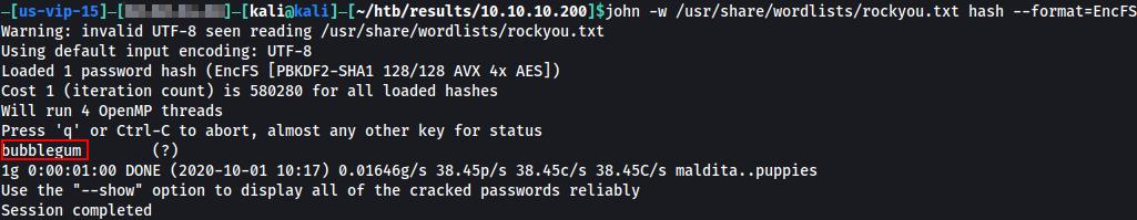 Password for the hash is bubblegum.