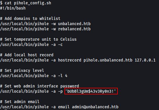 HTB Unbalanced Root Password.