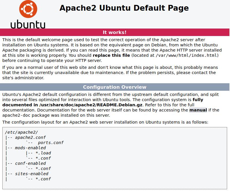 Default Apache page.