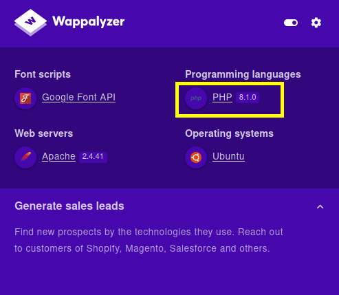 Wappalyzer showing PHP version.