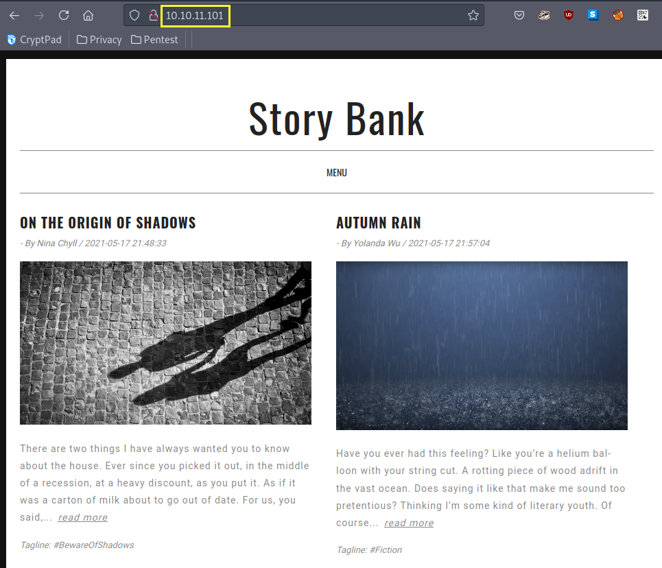 Story Bank website sitting on Port 80.